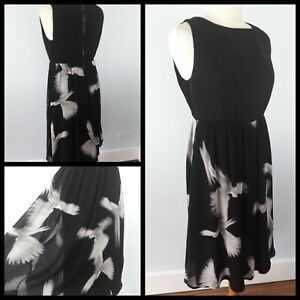 Mint-Velvet-Size-12-Black-White-Grey-Dove-Print-Dress-Floaty-Artist-Party