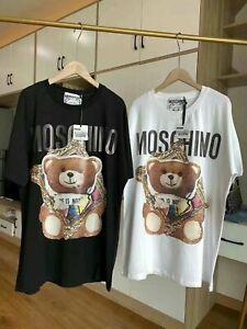 2020-Hot-New-Men-039-s-amp-women-Moschino-Picture-frame-bear-Short-Sleeve-Cotton-T-Shirt