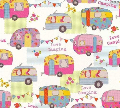 Children/'s Camper Van Caravan Wallpaper Pink White Bunting Floral AS Creation