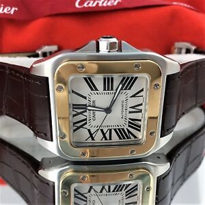 eae68a3d41a21 Details about Cartier Santos 100 XL 2656 Two Tone 18k Gold Steel Automatic  Men's Watch minty