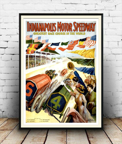 Reproduction motor racing poster Indianapolis Motor speedway Wall art.