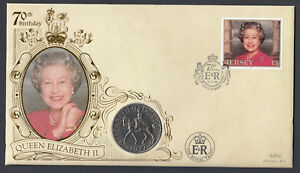 1996-Jersey-5-stamp-amp-1977-coin-on-70th-Birthday-QEII-QE2-Royal-Royalty-Cover
