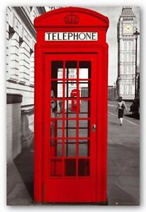 Image Is Loading 24x36 London Telephone Booth Art Poster Clic Red