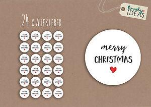 24-x-Geschenkaufkleber-034-Merry-Christmas-034-40mm-weiss-Etiketten-Aufkleber