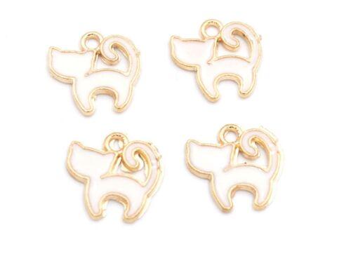 Vintageparts DIY remolque como gato en oros con blanco esmaltes 4 unid.