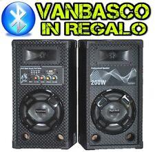 COPPIA CASSE ACUSTICHE AMPLIFICATE ATTIVE bluetooth 200W con usb-sd diffusori