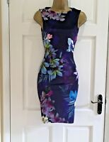 LIPSY New Purple Floral Velour Bodycon Party Evening Dress Size 8 10 12 14 16 18