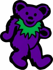 Static Cling Sticker Dancing Bear Purple Green Animal Hippie 1960s Decal 23136