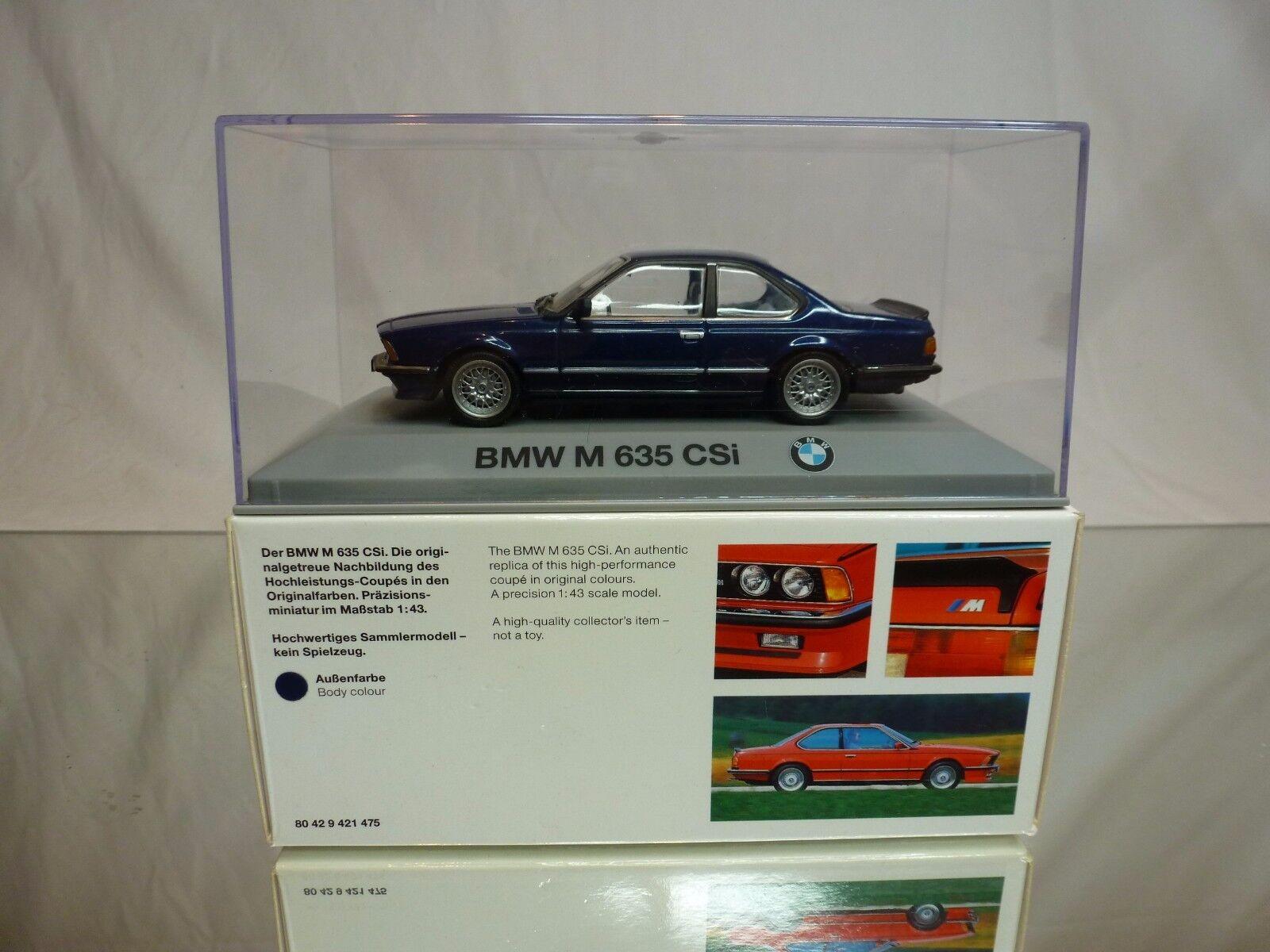 MINISTAMPS BMW 635 M CSi - blå METALLIC 1 43 RARE - EXCELLENT IN låda