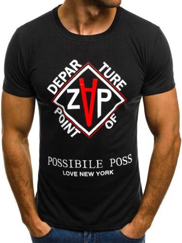 OZONEE JS 6937 Hommes T-shirt manches courtes shirt motif personnage souligne U-neck Fitness Mix