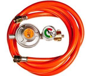 Gasschlauch-Druckminderer-Regler-Manometer-50mbar-Propangasschlauch-80-150-200cm