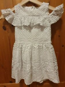 Girls-White-Lace-Dress-Size-6-7-Years-Skater