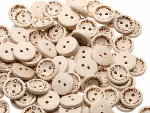 "100 PCS Wooden /""Handmade with love/"" Buttons Crafting Sewing Closures Connectors"