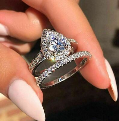 Bridal Ring Set Wedding Ring Engagement Ring Sterling Silver Ring Set Personalized Gift 2.14 Ct Pear Cut Diamond Ring Engagement Gift