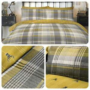 Dreams-amp-Drapes-CONNOLLY-CHECK-Ochre-Yellow-100-Brushed-Cotton-Duvet-Cover-Set