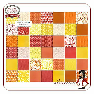 Simply Colorful Moda Charm Pack Colourful Fabric retro modern red yellow orange