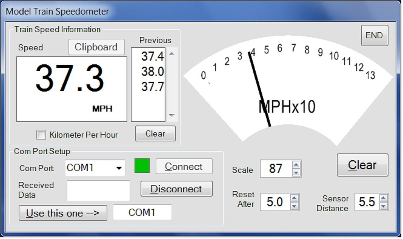 Model Train Speedometer Kit - Works with G, O, S, HO and N scales.  Now Talking