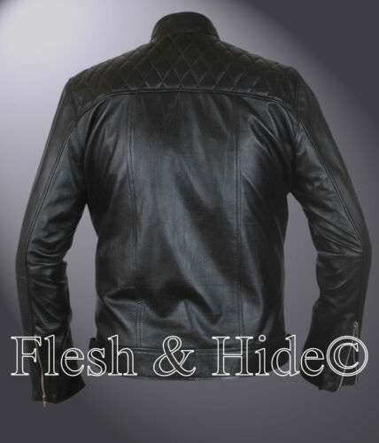 Men/'s Quilted Top Genuine Real Sheep Leather Fashion Jacket