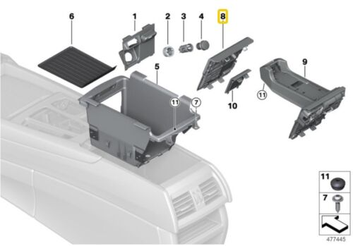 Genuine BMW X5 Front Center Console Rear Trim Storage Compartment 51169252106