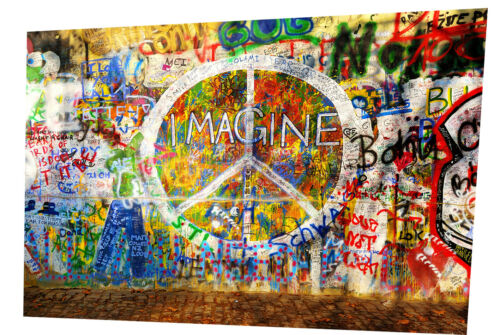 poster print for glass frame street art painting imagine john lennon