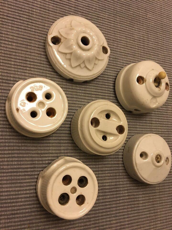 Antik/gammel porcelæns kontakt/-skjulere , Antik