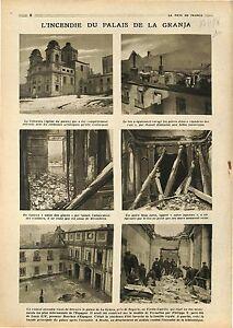"""Fire Incendie Palais de la Granja Palace Palacio Real de La Granja 1918 WWI - France - Commentaires du vendeur : """"OCCASION"""" - France"""