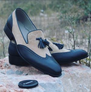 Zapatos de vestir Zapatos de cuero negro de hombre hecho a mano, Beige Zapatos De Gamuza Para Hombres, de extremo de ala
