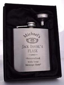Personalised-JACK-DANIELS-Hip-Flask-Gift-18th-21st-40th-Birthday-Fathers-Day-Dad