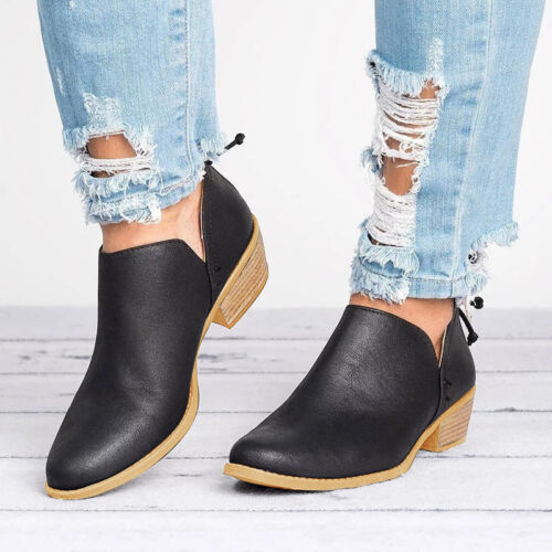 Womens Ladies Low Flat Heels Ankle Boots Round Toe Zip Casual Booties Shoes Size