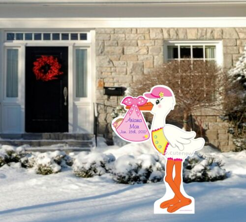 4 Ft Tall It/'s a Girl Personalized Yard Stork Sign New Baby Yard Announcement