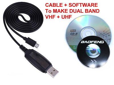 Baofeng BF-T1 USB PROGRAMMING CABLE + SOFTWARE MAKE IT DUAL BAND UHF