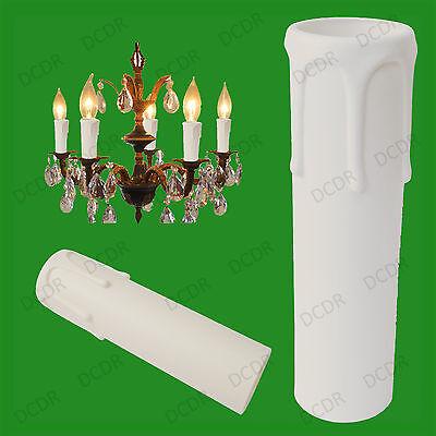 10 X Weiß Tropf Kerze Wachs Effekt Kronleuchter E14 Glühbirne Ärmel 105mm X 27mm Clear-Cut-Textur
