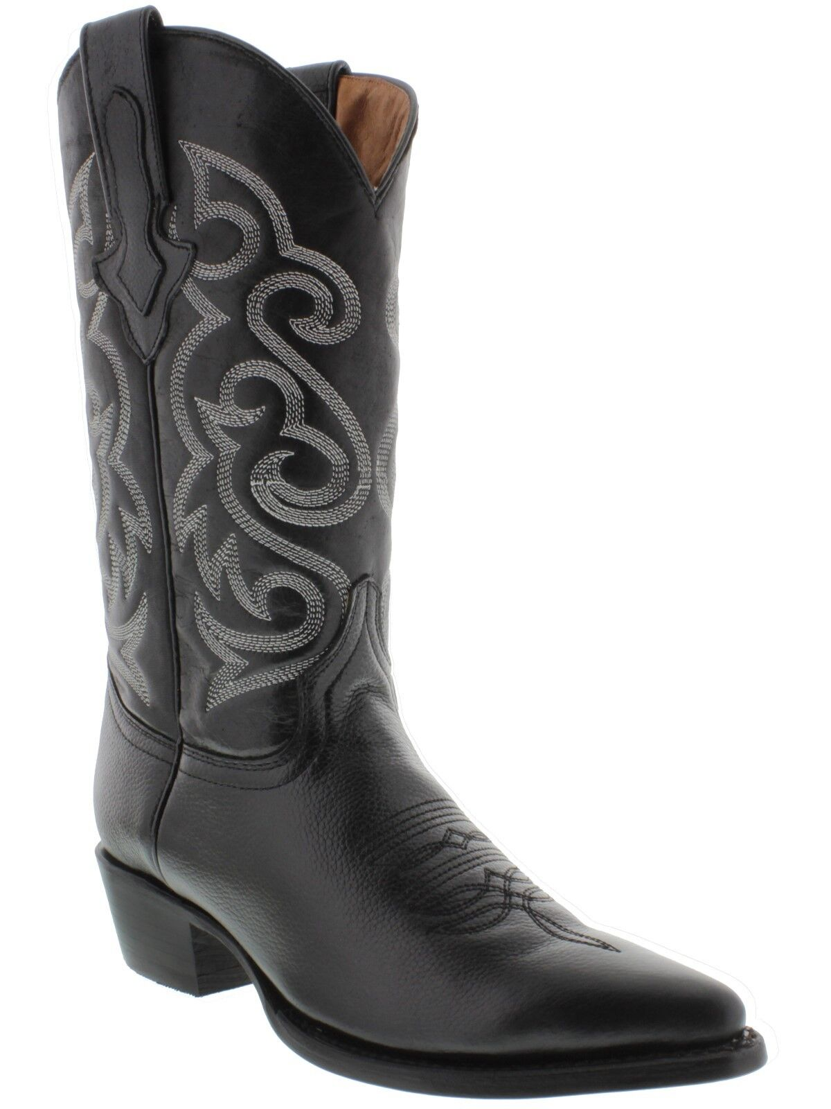 Mens black classic plain leather western cowboy leather boots rodeo j toe riding