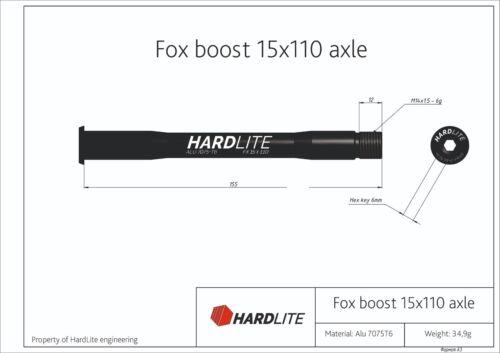 FOX BOOST 32 34 stepcast 15mm x 110mm bicycle skewer Hardlite front thru axle