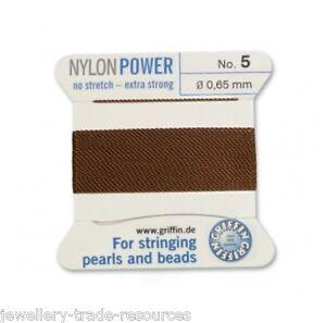 Marrón Nylon Potencia sedoso Cadena Hilo 0.65 Mm Encordar Perlas Y Cuentas Griffin 5  </span>