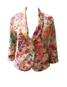 Joseph Ribkoff Flower Print Polyester Jacket Size 8 Pre-Owned Perfect Condition