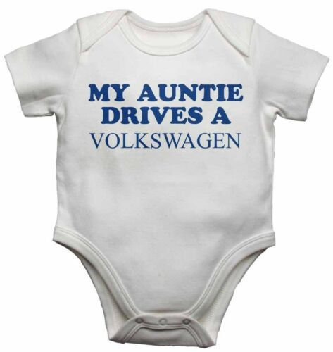 My Auntie Drives a Volkswagen Personalised Baby Vests Bodysuits for Boys Girls
