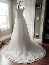 Oleg Cassini Wedding Gown Classic Cap Sleeve Pleated Sz. 2 / 4