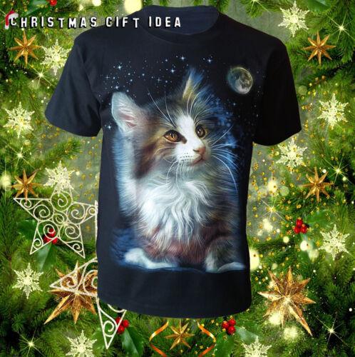 Chat lunaire avant noir imprimé t-shirt chat//chaton//noël//cadeau de noël//unisexe//haut//tee