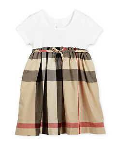 3bd042bb584d NWT NEW Burberry Rosey white and nova check dress 6y 8y 10y