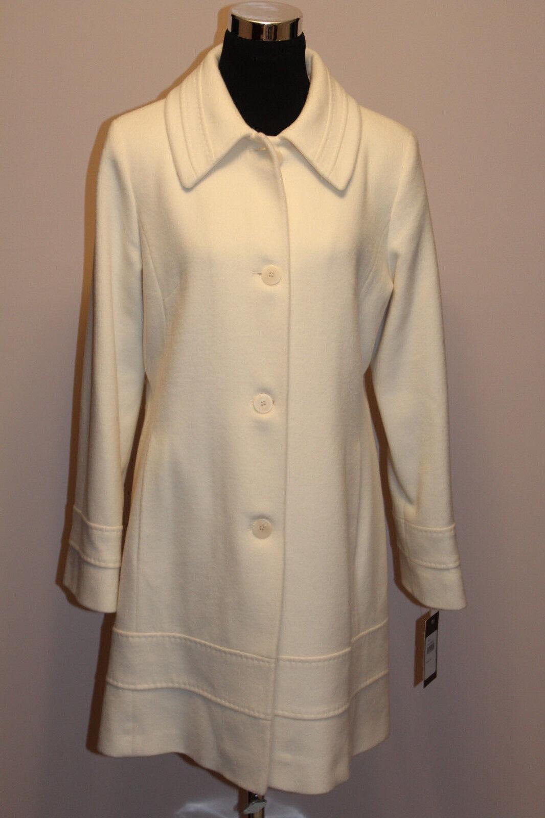 1049 NWT FLEURETTE STUDIO Parchment Wool Ivory Coat White Buttons sz 14