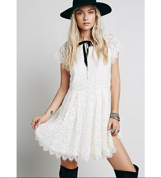 NEW Free People Stardust Ivory Lace Mini Dress - Easy Loose Fit & Flare  128 M