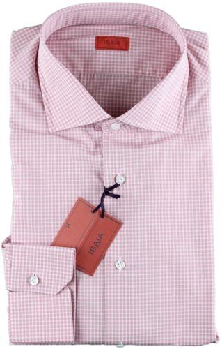Isaia Blanco de Rosa cuadros Handmade y lujo a 17 Nwt Camisa Spread 43 Italy dqnRdE