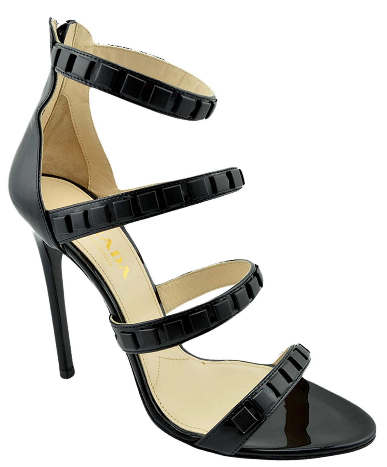 650 cuero negro de Prada Vernice Sandalias Tacones Altos Altos Altos 38.5 8.5 Nueva Colección  barato y de alta calidad