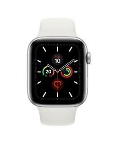 Apple Watch Series 5 GPS, 44mm Silver Aluminium Case with White Sport Band - S/M
