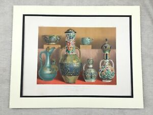 1862-Antique-Print-Islamic-Pottery-Middle-Eastern-Earthenware-Chromolithograph