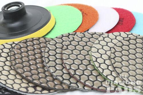 Diamond Polishing Pads 4 inch Dry 15 Piece Set/&Backer Pad Granite Concrete Stone