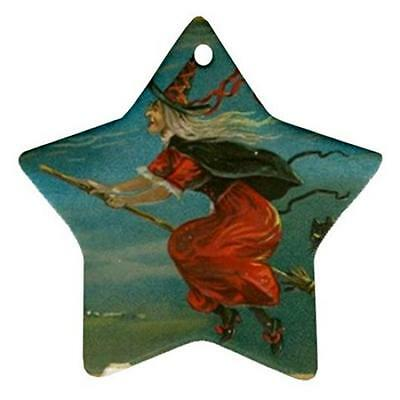 Halloween Flying Witch Broom Star Shaped Porcelain Christmas Ornament