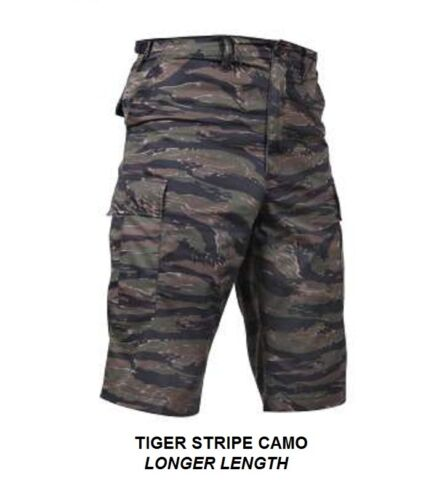 "LONG LENGTH Combat Cargo Shorts TIGER STRIPE CAMO 13.5/"" Inseam BDU Army USMC USN"