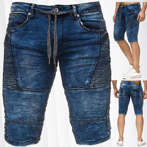 Sweat-Jeans-Shorts-pour-Hommes-Jeans-de-jogging-lave-delave-Bermuda-Biker-Denim